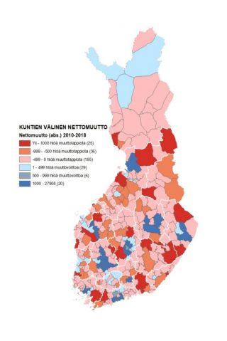 Kartta 1 näyttää kuntien välisen nettomuuton Suomessa vuosina 2010–2018. Voittajia ovat suuret kaupungit ja niiden kehyskunnat.