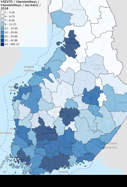 Kartta 1 näyttää väestöntiheyden seutukunnittain. Tiheimmin asutut seudut ovat Helsingin, Turun, Tampereen, Oulun ja Jyväskylän alueilla.