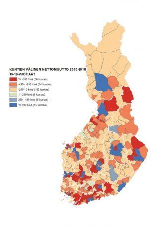 Kartta 3 näyttää kuntien välisen nettomuuton 15–19-vuotiaiden keskuudessa. Suuret kaupungit ovat selkeitä nettomuuttovoittajia.