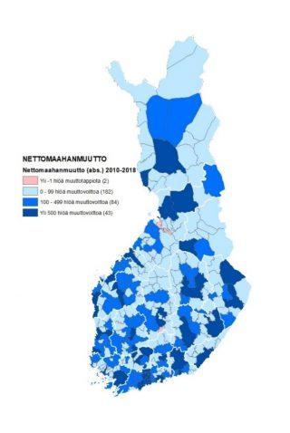 Kartta 2 näyttää nettomaahanmuuton jakautumisen Suomen kuntiin vuosina 2010–2018. Kartan tiedot on avattu tekstissä.