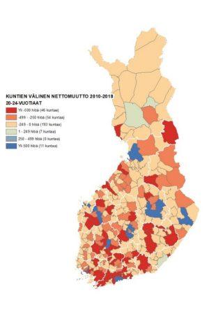 Kartassa 4 näkyy kuntien välinen nettomuutto 20–24-vuotiaiden joukossa, jotka muuttavat myös suuriin opiskelukaupunkeihin.