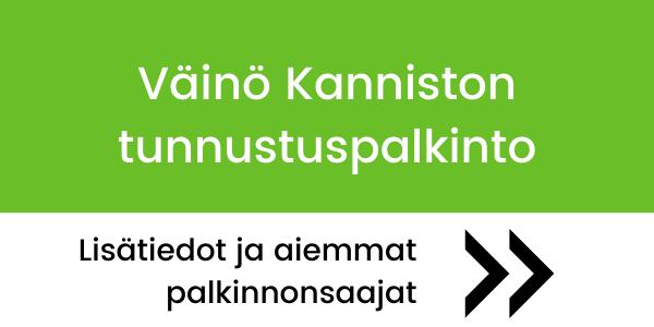 Teksti: Väino Kanniston tunnustuspalkinto. Lisätiedot ja aiemmat palkinnonsaajat näet linkin takaa.