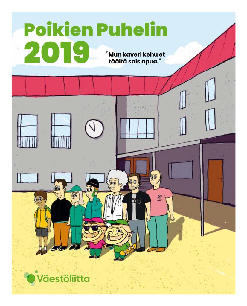 Poikien Puhelimen vuosiraportin 2019 kansi, jossa rivi animaatiohahmoja koulun pihalla.