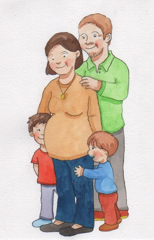 Perhe, johon on tulossa vauva.