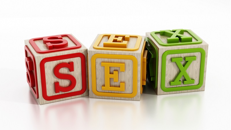 tre leksaksblocker som läser sex