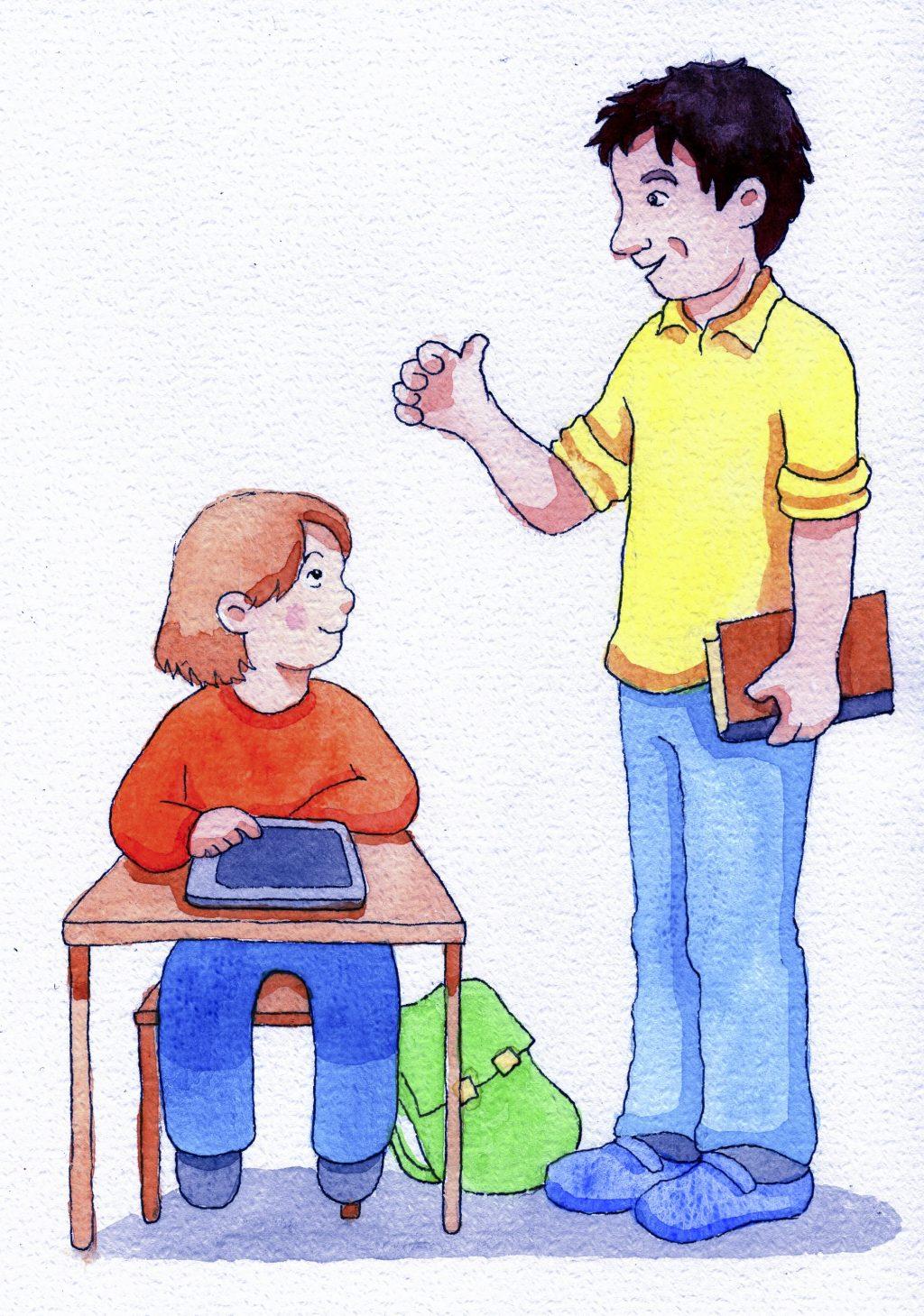 Opettaja näyttää peukkua oppilaalle.
