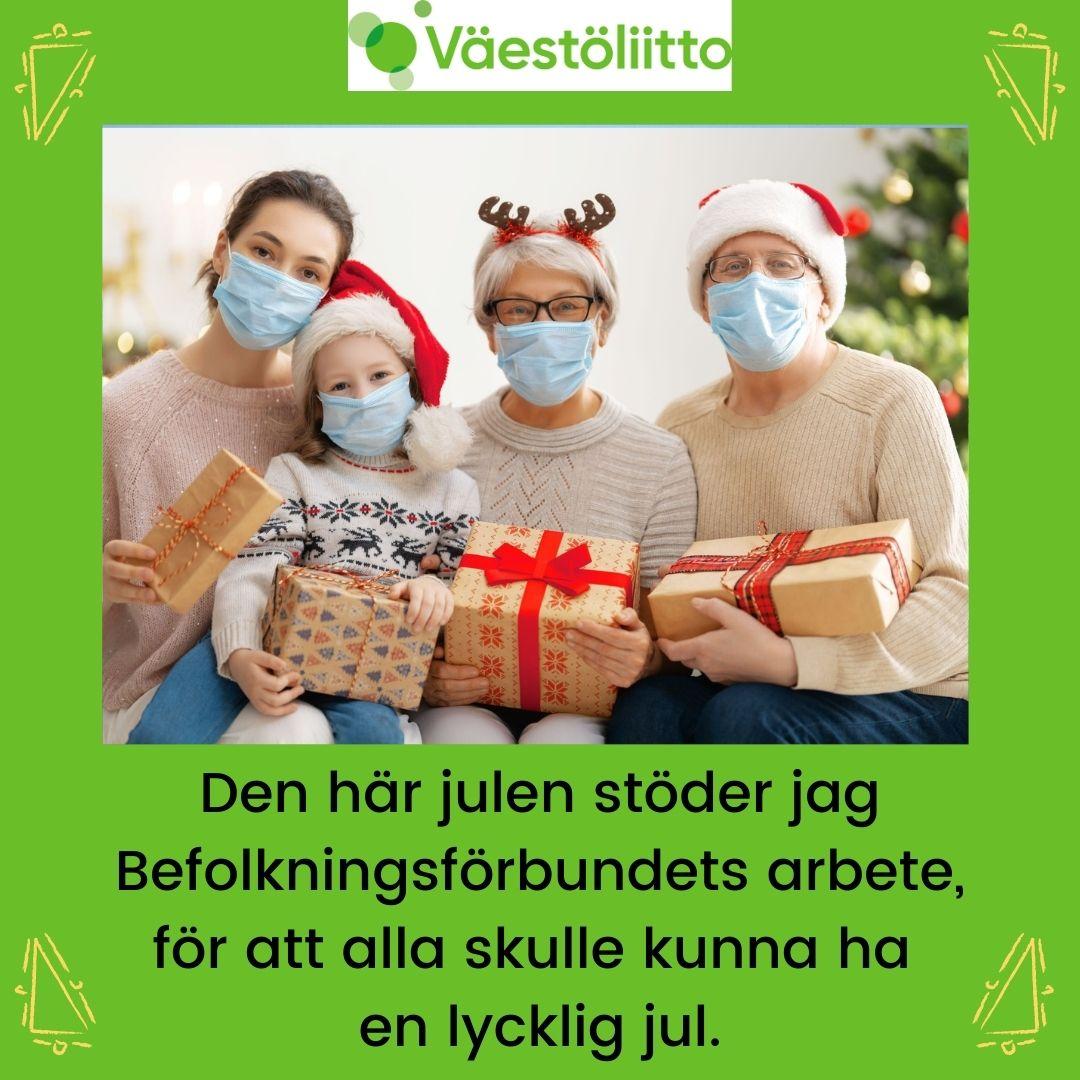 Joulutervehdyskuva ruotsiksi.