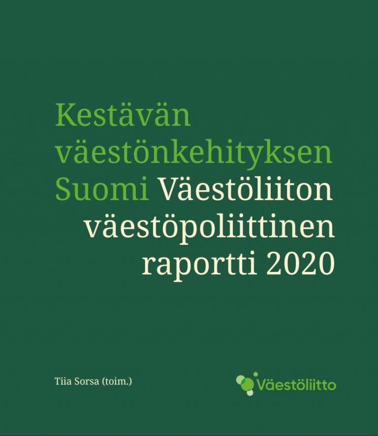 Kestävän väestönkehityksen Suomi -raportin kansi vihreällä pohjalla ja Väestöliiton logolla.