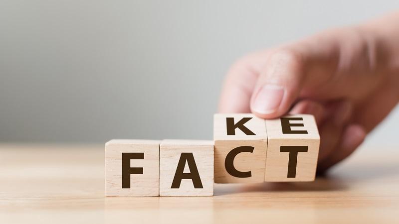 Kirjainpalikat, joista muodostuu joko sana fake tai fact.