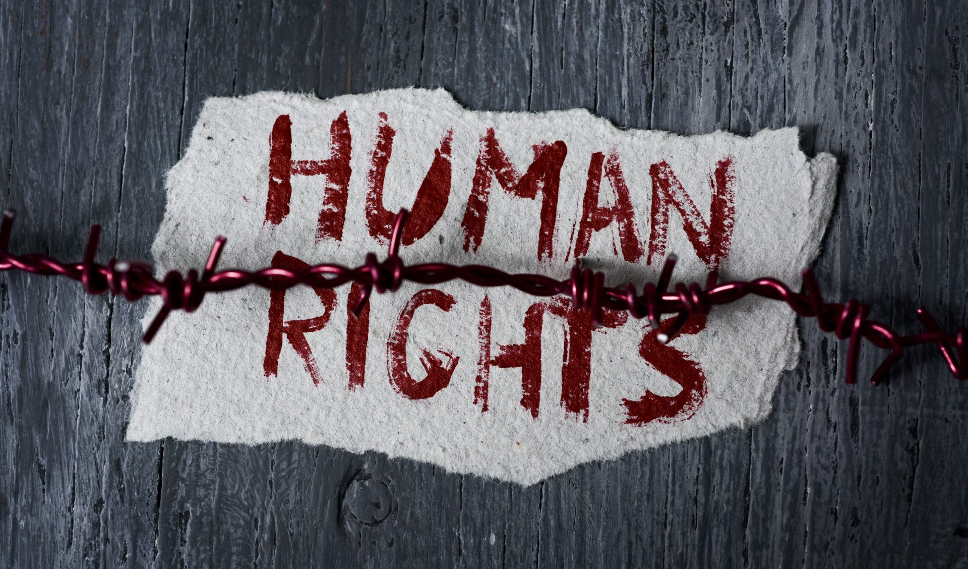 Human Rights painted on the wall.