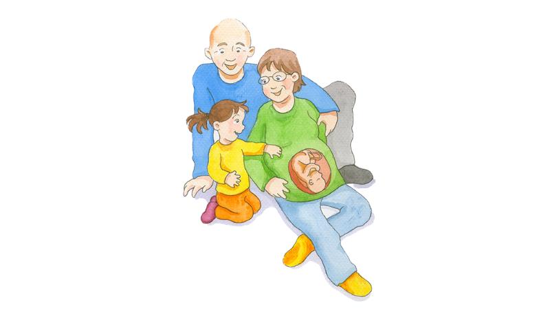 Perhe istuu lattialla ja yhdessä ihmetellään äidin raskausvatsaa. Sikiö näkyy mahan läpi.Piirretty kuva.