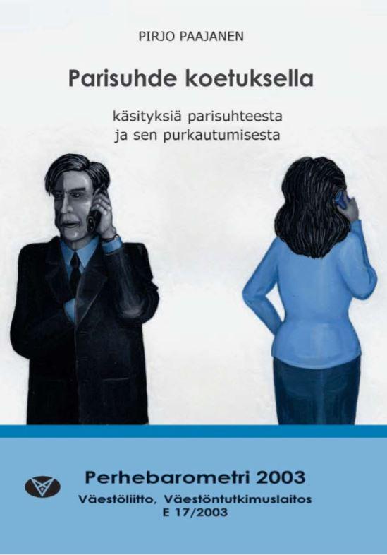 Piirros miehestä ja naisesta, jotka puhuvat puhelimessa toisiinsa selin.