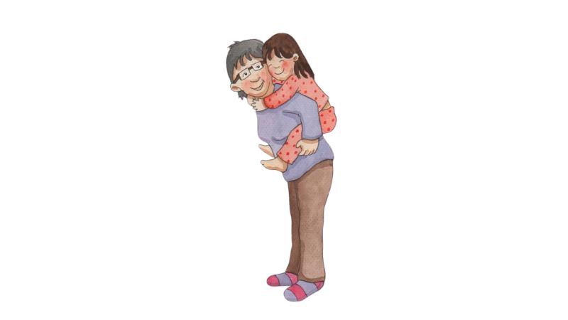 Isoäiti pitää lasta reppuselässä. Molemmat ovat onnellisen näköisiä. Piirretty kuva.