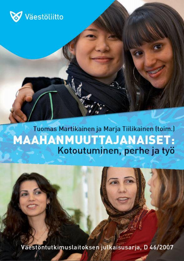 Maahanmuuttajanaisia juttelemassa, ja toisessa kuvassa kaksi naista hymyilemässä kameralle.