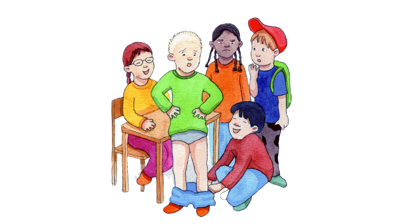 Piirretty kuva, jossa lapsi vetää housut toiselta lapselta alas. Muut lapset katselevat toinen vihaisena ja toinen naureskellen.