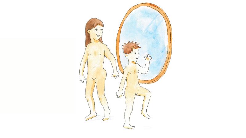 Lapset ihailevat itseään peilistä alastomina. Piirretty kuva.