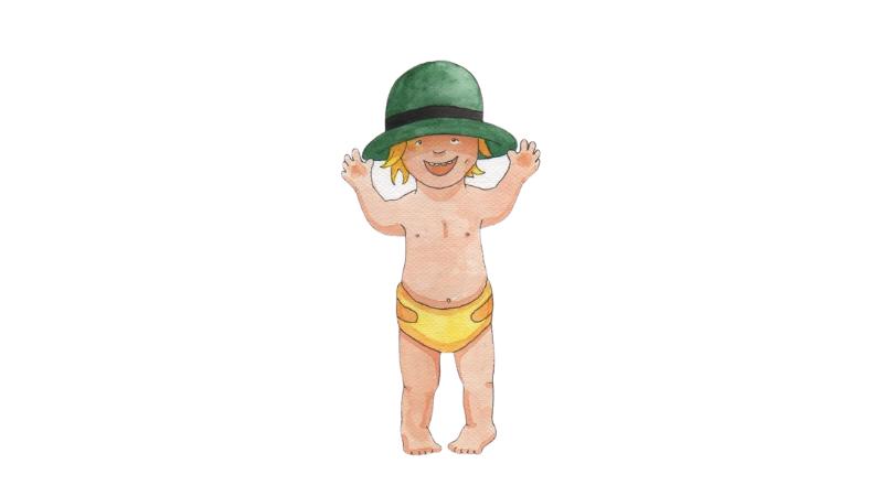 Pieni lapsi vaipat ja hieno hattu päällään. Piirretty kuva.