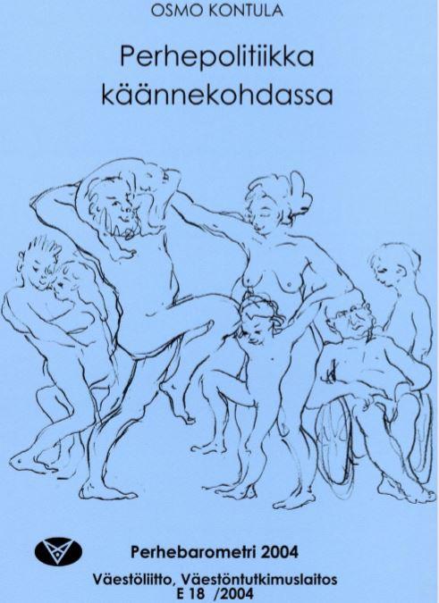 Sirkka-Liisa Longan lyijykynäpiirros, jossa on joukko eri ikäisiä alastomia ihmisiä.