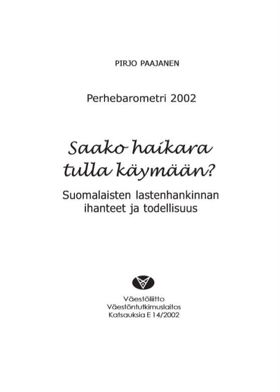 Julkaisun nimi, tiedot ja Väestöliiton logo valkoisella pohjalla.