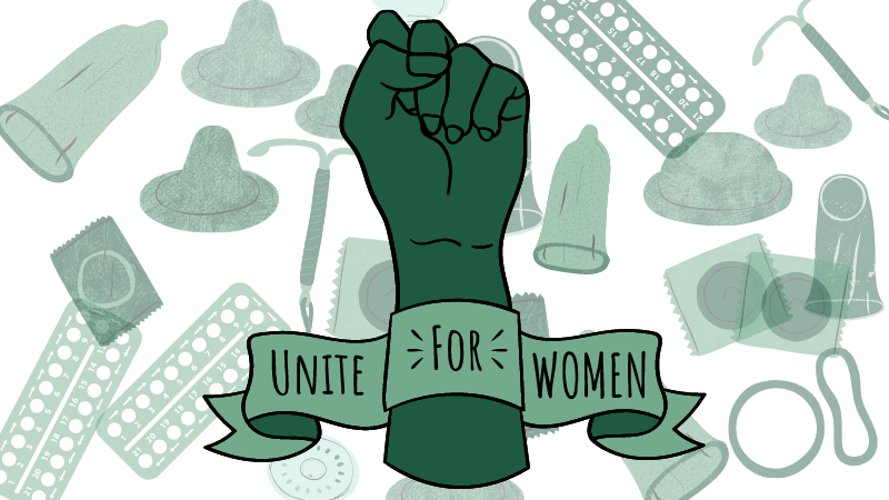 Raised fist text ribbon around it saying unite for women