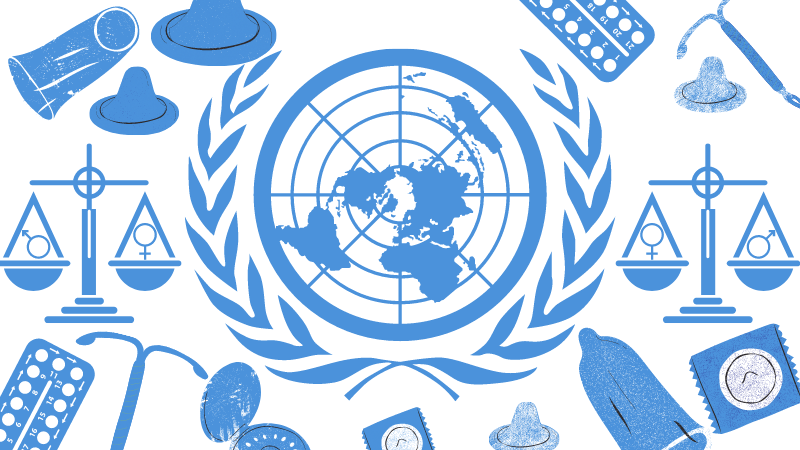 UN logo and contcaceptives and gender equality scale