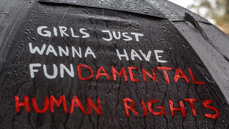 Handwritten text: girls just wanna have fundamental human rights