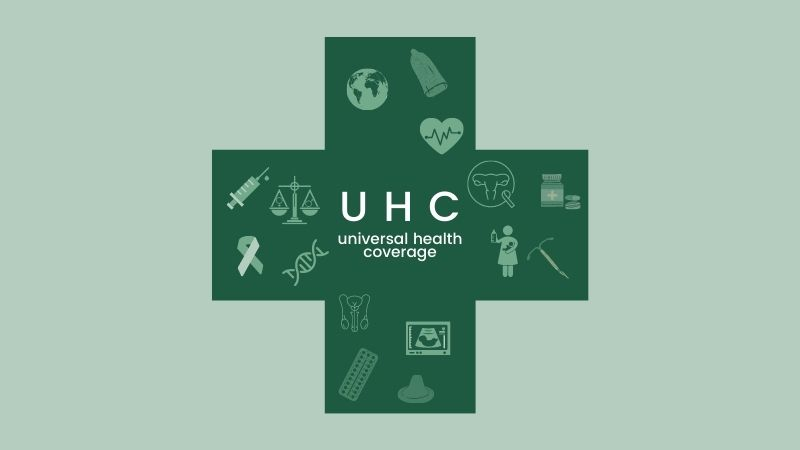 Drawn picture of a cross with the text UHC, Universal Health Coverage