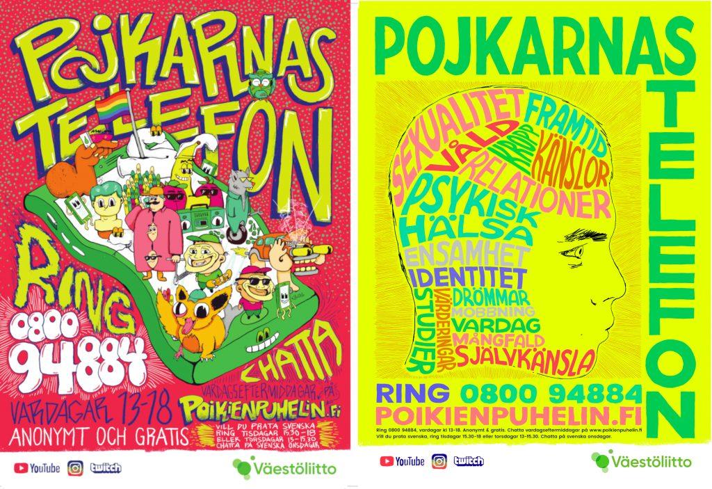Bilder på Pojkarnas telefons svenskspråkiga affischer