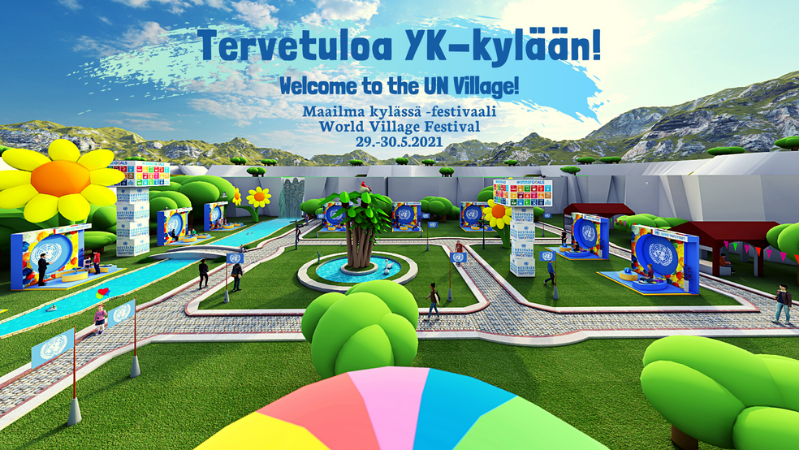 Kuva virtuaalisesta YK-kylästä Tervetuloa YK-kylään. Welcome to the UN-village. Maailma kylässä festivaali 29.-30.5.2021