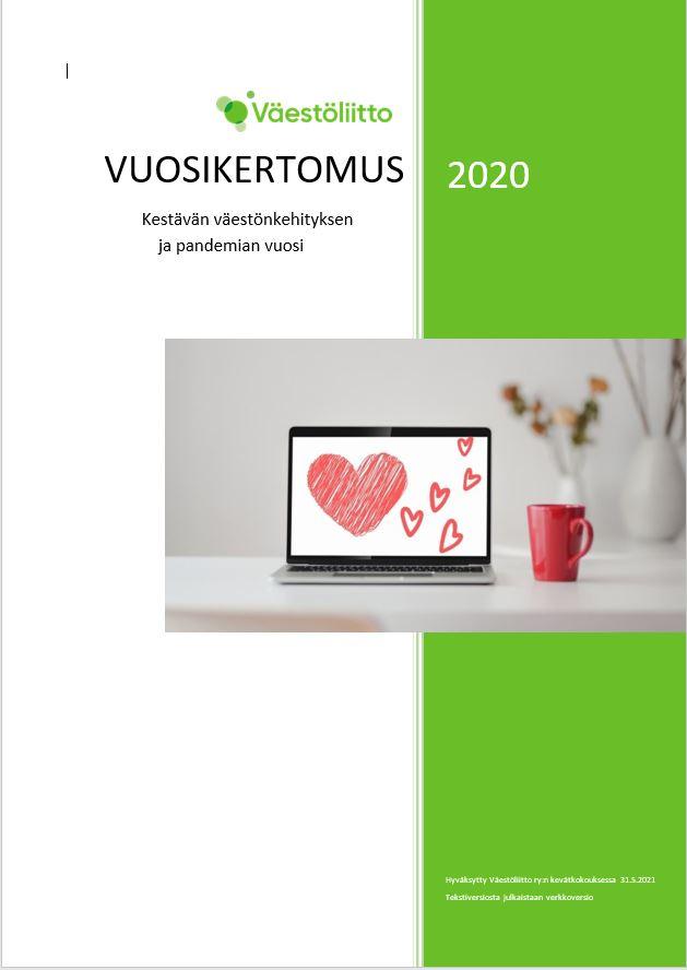 Väestöliiton vuosikertomus 2020 kansikuva
