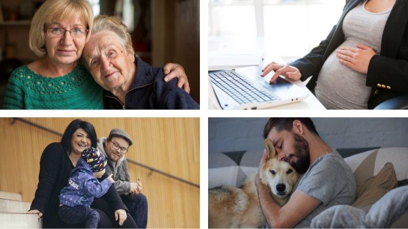 Kollaasi, jossa neljä erilaista perhetilannetta erillisinä kuvina: ikäihmiset halaamassa, raskaana oleva henkilö tietokoneella, iloinen lapsiperhe sekä nuori mies halaamassa koiraa.