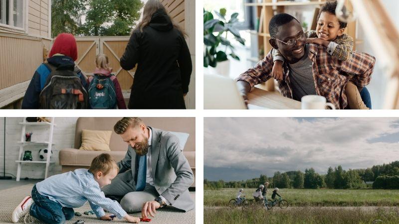 Neljän perhekuvan kuvakollaasi, jossa on erilaisia perheitä tilanteissa iloisina.