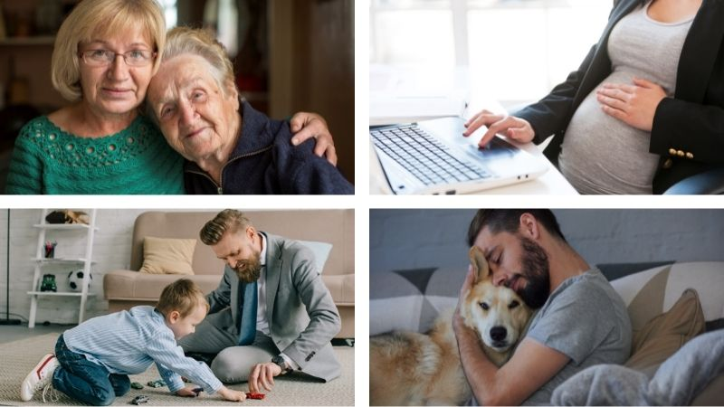 People in four different situations in a lifespan of balancing work and life.